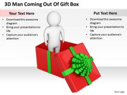 1813 3D Man Coming Out Of Gift Box Ppt Graphics Icons Powerpoint