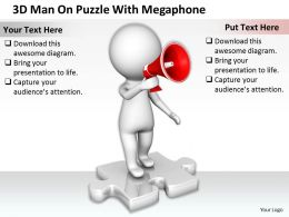 1813 3D Man On Puzzle With Megaphone Ppt Graphics Icons Powerpoint