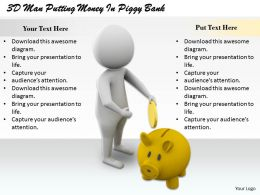 1813 3D Man Putting Money In Piggy Bank Ppt Graphics Icons Powerpoint