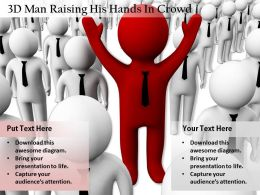 1813 3D Man Raising His Hands In Crowd Ppt Graphics Icons Powerpoint