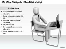 1813 3D Man Sitting On Chair With Laptop Ppt Graphics Icons Powerpoint