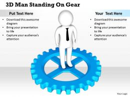 1813 3D Man Standing On Gear Ppt Graphics Icons Powerpoint