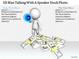 1813 3D Man Talking With A Speaker Stock Photo Ppt Graphics Icons Powerpoint