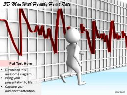 1813 3D Man With Healthy Heart Rate Ppt Graphics Icons Powerpoint