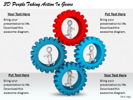 1813 3d People Taking Action In Gears Ppt Graphics Icons Powerpoint