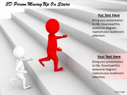 1813 3D Person Moving Up On Stairs Ppt Graphics Icons Powerpoint