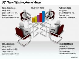 1813 3D Team Meeting Around Graph Ppt Graphics Icons Powerpoint