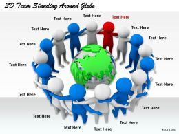 1813 3D Team Standing Around Globe Ppt Graphics Icons Powerpoint