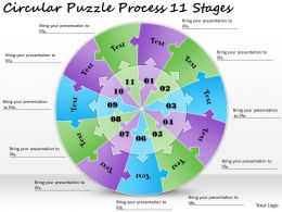 1813 Business Ppt diagram Circular Puzzle Process 11 Stages Powerpoint Template