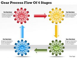 1813 Business Ppt diagram Gear Process Flow Of 4 Stages Powerpoint Template