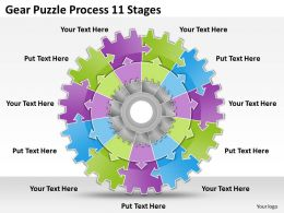 1813 Business Ppt diagram Gear Puzzle Process 11 Stages Powerpoint Template