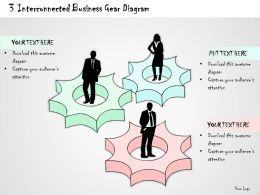 1814 Business Ppt Diagram 3 Interconnected Business Gear Diagram Powerpoint Template