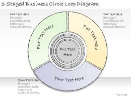 1814 Business Ppt Diagram 3 Staged Business Circle Loop Diagram Powerpoint Template