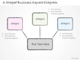 1814 Business Ppt Diagram 3 Staged Business Square Diagram Powerpoint Template
