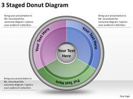 1814 Business Ppt Diagram 3 Staged Donut Diagram Powerpoint Template
