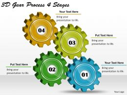 1814 Business Ppt Diagram 3d Gear Process 4 Stages Powerpoint Template