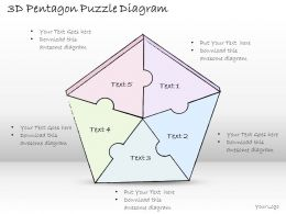 1814 Business Ppt Diagram 3D Pentagon Puzzle Diagram Powerpoint Template