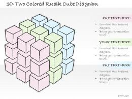 1814 Business Ppt Diagram 3d Two Colored Rubik Cube Diagram Powerpoint Template
