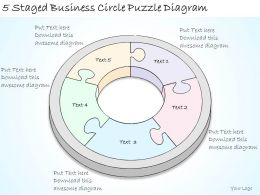 1814 Business Ppt Diagram 5 Staged Business Circle Puzzle Diagram Powerpoint Template