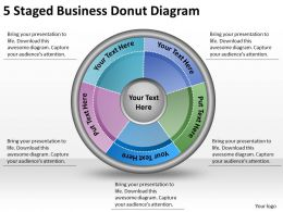 1814 Business Ppt Diagram 5 Staged Business Donut Diagram Powerpoint Template