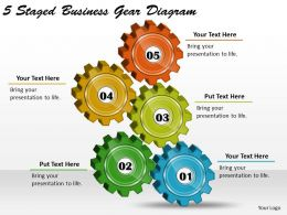 1814 Business Ppt Diagram 5 Staged Business Gear Diagram Powerpoint Template