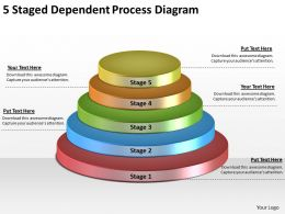 1814 Business Ppt Diagram 5 Staged Dependent Process Diagram Powerpoint Template