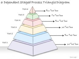 1814 Business Ppt Diagram 6 Dependent Staged Process Triangle Diagram Powerpoint Template
