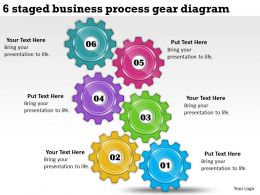 1814 Business Ppt Diagram 6 Staged Business Process Gear Diagram Powerpoint Template