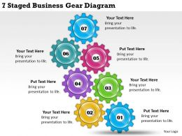 1814 Business Ppt Diagram 7 Staged Business Gear Diagram Powerpoint Template