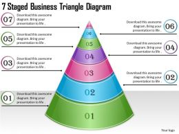 1814 Business Ppt Diagram 7 Staged Business Triangle Diagram Powerpoint Template