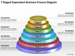 1814 Business Ppt Diagram 7 Staged Dependent Business Process Diagram Powerpoint Template