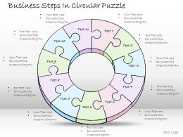 1814 Business Ppt Diagram Business Steps In Circular Puzzle Powerpoint Template