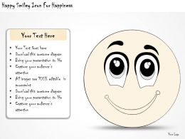 1814 Business Ppt Diagram Happy Smiley Icon For Happiness Powerpoint Template