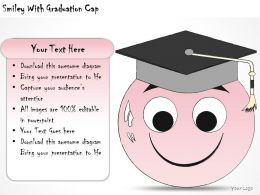 1814 Business Ppt Diagram Smiley With Graduation Cap Powerpoint Template