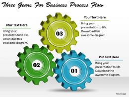 1814 Business Ppt Diagram Three Gears For Business Process Flow Powerpoint Template