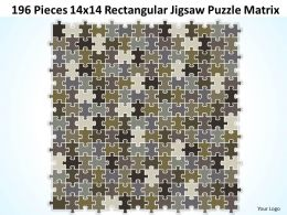 196 Pieces 14x14 Rectangular Jigsaw Puzzle Matrix Powerpoint templates 0812