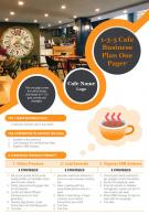 1 3 5 Cafe Business Plan One Pager Presentation Report Infographic PPT PDF Document