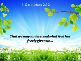 1 Corinthians 2 12 That we may understand PowerPoint Church Sermon