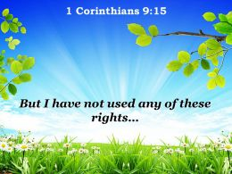 1 Corinthians 9 15 Any of these rights PowerPoint Church Sermon