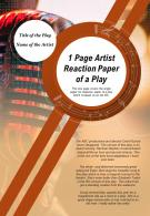 1 Page Artist Reaction Paper Of A Play Presentation Report Infographic PPT PDF Document