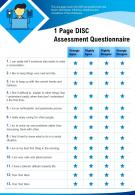1 Page DISC Assessment Questionnaire Presentation Report Infographic PPT PDF Document