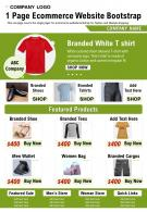 1 Page Ecommerce Website Bootstrap Presentation Report Infographic PPT PDF Document