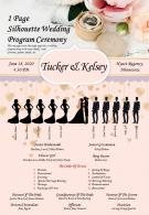1 Page Silhouette Wedding Program Ceremony Presentation Report Infographic PPT PDF Document