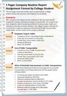 1 Pager Company Routine Report Assignment Format By College Student Report Infographic PPT PDF Document