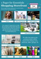 1 Pager For Essentials Shopping Storefront Presentation Report Infographic PPT PDF Document