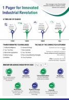 1 Pager For Innovated Industrial Revolution Presentation Report Infographic PPT PDF Document