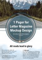 1 Pager For Letter Magazine Mockup Design Presentation Report Infographic PPT PDF Document