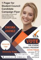 1 Pager For Student Council Candidate Campaign Flyer Presentation Report Infographic PPT PDF Document