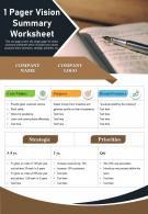 1 Pager Vision Summary Worksheet Presentation Report Infographic PPT PDF Document