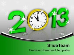 2013 Alarm Clock Over Green Background PowerPoint Templates PPT Backgrounds For Slides 0113